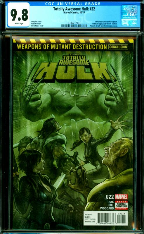 Totally Awesome Hulk #22 CGC Graded 9.8 1st Full Appearance of Weapon H