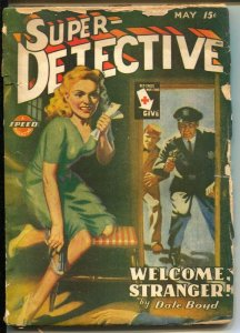Super-Detective 5/1945-Trojan-gun moll cover-hardboiled pulp fiction-G/VG