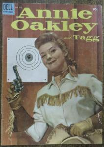 FOUR COLOR COMICS (Dell, 8/1954) #575 VG-. Annie Oakley & Tagg Photo Cover!