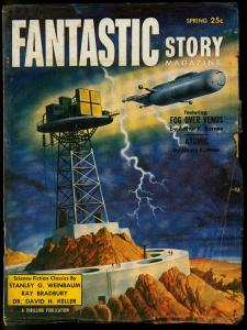 Fantastic Story Spring 1955- Schomburg cover- Atomic by Henry Kuttner VG