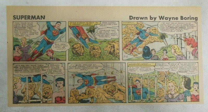 Superman Sunday Page #1133 by Wayne Boring from 7/2/1961 Size ~7.5 x 15 inches