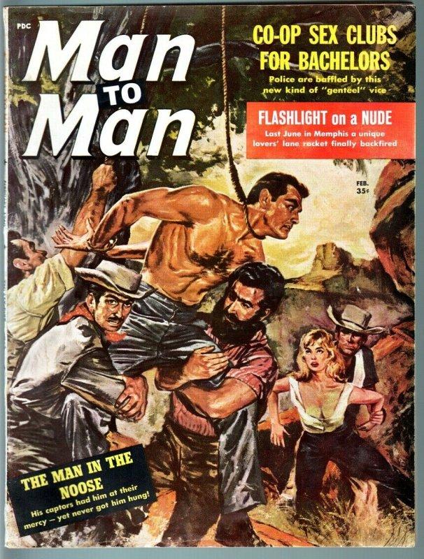 Man to Man Feb 1960 Violent hanging cover-Vultures eat man alive-Edgar Allen Poe