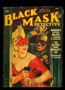 Black Mask Detective Pulp September 1950- Masked Gun Moll Saunders cover FN