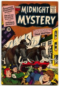 Midnight Mystery #6 1961-PRE-HISTORIC MASTEDON COVER FN+