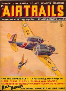 Air Trails 11/1937-Bill Barnes-hero pulp-George L Eaton-Tinsley cover-VG/FN