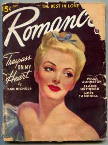 Romance Pulp October 1946- Trespass On My Heart FAIR