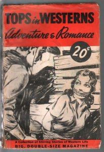 Tops In Western Adventure & Romance 1940-bondage gagged woman-VG