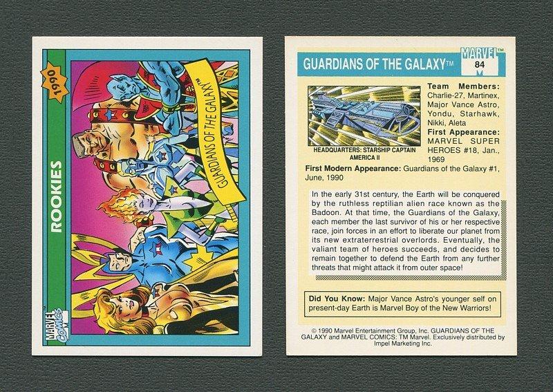 1990 Marvel Comics Card  #84 (Guardians of Galaxy / 1st ever Card) / MINT