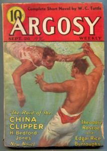 Argosy Pulp September 26 1936- TARZAN AND THE MAGIC MEN vg-