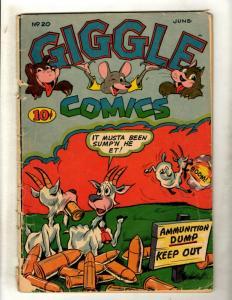 Giggle Comics #20 VG- Golden Age Funny Animal Comic Book Goat Mouse Bear Cat JK1