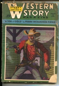 Western Story 1/4/1936-Barroom gunfight cover Francis Goodman-Ton Of Gold b...