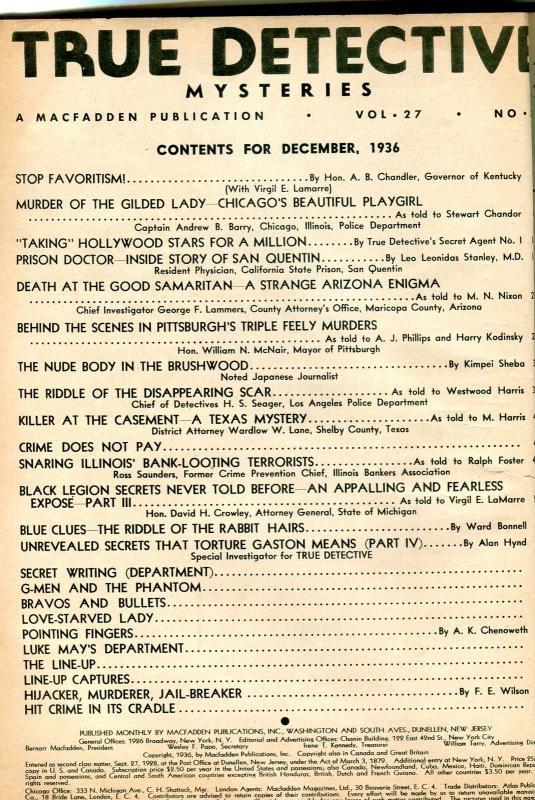 True Detective Magazine December 1936- Audrey Vallette- San Quentin VG