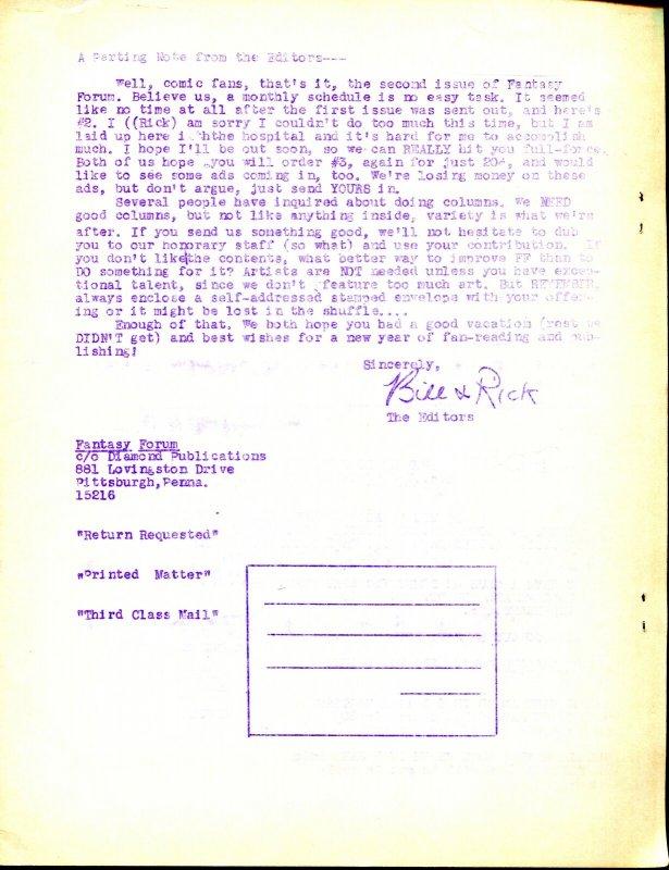 Fantasy Forum #2 1967-Bill Schelly-Flash-Whizzer-print run of 200-VF