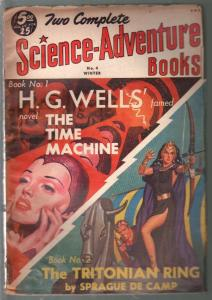 Two Science-Adventure Books #4 Winter 1951-Time machine-H G Wells-VF