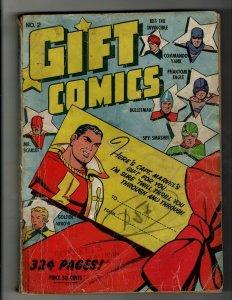 Gift Comics # 2 VG Fawcett Golden Age Comic Book Captain Marvel Shazm Eagle NE4