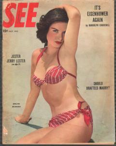 See 7/1951-cheesecake-exploitation-oversized-bikini cover-G/VG