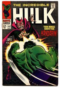 INCREDIBLE HULK #107 comic book 1968-NICK FURY-MANDARIN-FLYING SAUCER