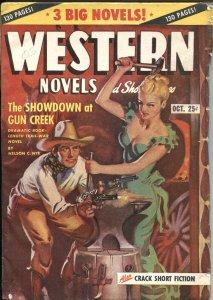 WESTERN NOVELS & STORIES--OCT 19487-SPICY GIRL ART PULP COVER--ALLEN ANDERSON