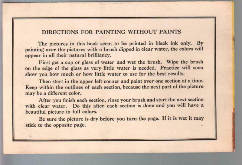 Paint Without Paints #0120C 1939-invisible color paint book-VF-
