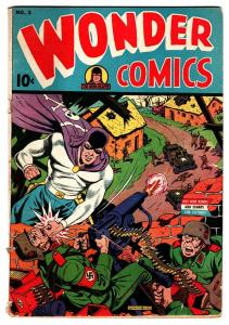 Wonder Comics #3 1944-Nedor-WWII Nazi punching cover-Alex Schomburg