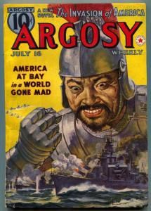 Argosy Pulp July 16 1938- Invasion of America- Asian Menace VG/F