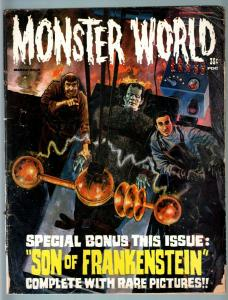 MONSTER WORLD #7-1965-FRANKENSTEIN LABORATOR COVER-BASIL RATHBONE-LUGOSI-G! G