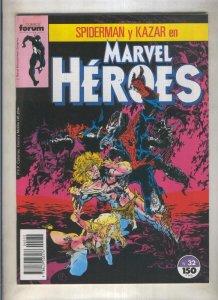 Marvel Heroes numero 32: Spiderman y Kazar (numerado 1 en trasera)