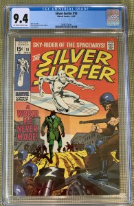SILVER SURFER #10 CGC 9.4 -- O/w to WHITE PAGES! STAN LEE JOHN BUSCEMA