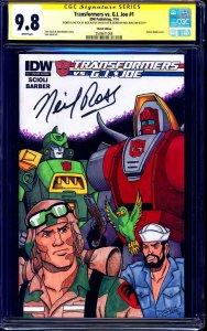 Transformers vs G.I. Joe #1 BLANK CGC SS 9.8 signed NEIL ROSS CHARACTERS SKETCH