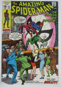 AMAZING SPIDER-MAN  #91 (Marvel, 12/1970) VERY FINE (VF) Bullit! Lee & Kane