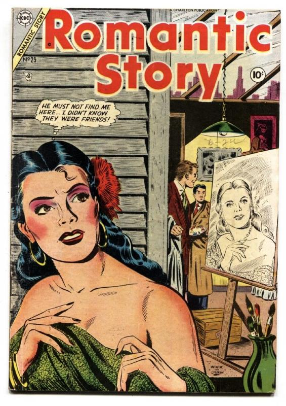 Romantic Story #25 1954- Charlton comics-Spicy art-Great cover-FN-