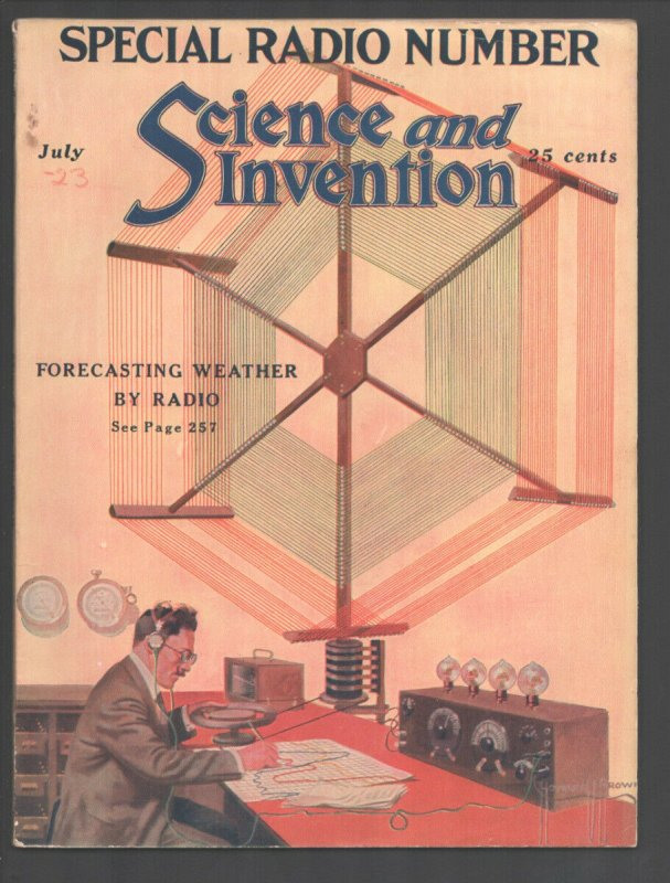Science & Invention 7/1923-Experimenter-Frank R Paul art--H V Brown-sci-fi pu...