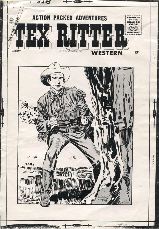 Tex Ritter Western Original Production Comic Book Cover Art 1950's-Charlton-VG