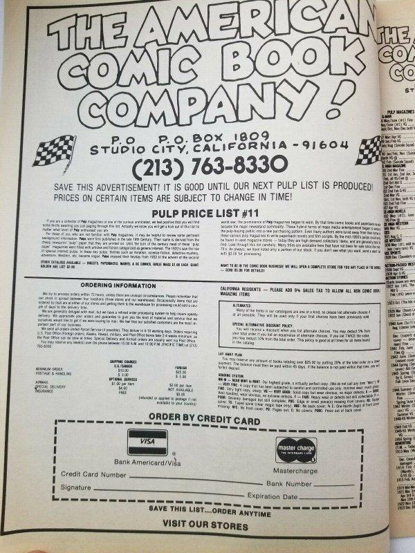 American Comic Book Company Pulp Price List Catalog - Very Fine High Grade