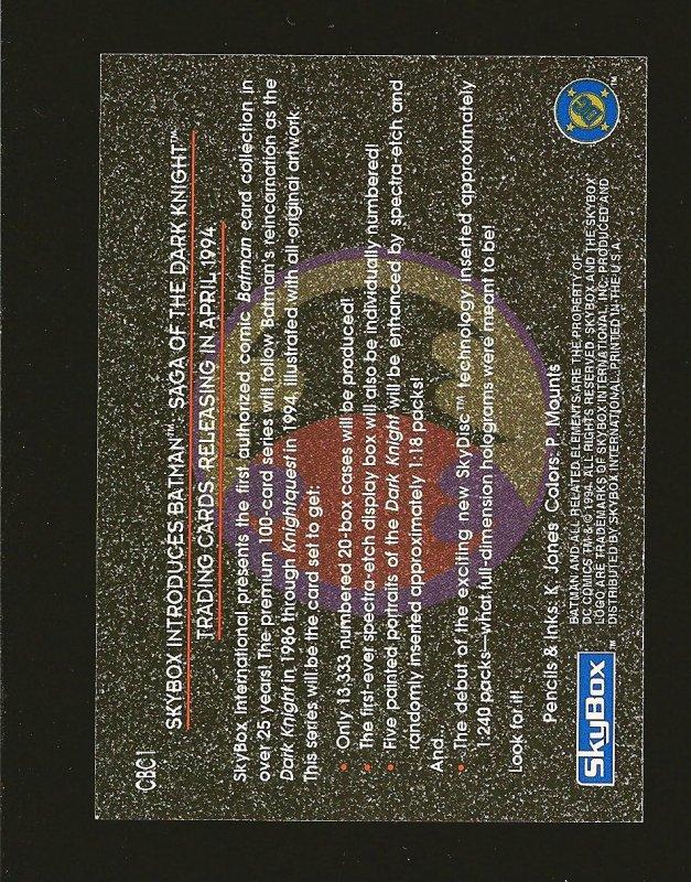 Skybox DC Comics KNIGHTFALL CBC1 1994 Promo Card