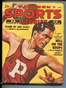 15 SPORTS STORIES 01/1950-BASKETBALL-JOHN D MACDONALD-PULP-vg+
