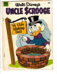Uncle Scrooge # 7 VG Dell Golden Age Comic Book Wishing Well Donald Duck 54' JL8