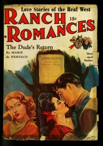 Ranch Romances Pulp 3rd April  Number 1942- Love triangle cover- G/VG