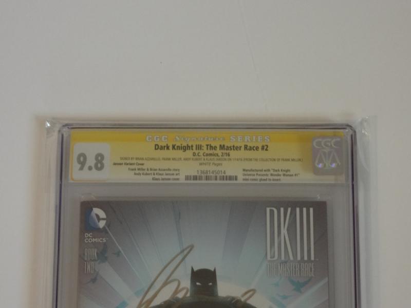 Dark Knight III: Master Race #2 CGC SS 9.8; 1:25 Janson variant!! 4 x signed!!