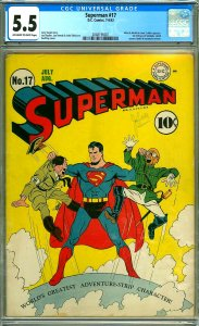 Superman #17 - CGC 5.5 - 1st Fortress of Solitude & Hirohito & Hitler Cover
