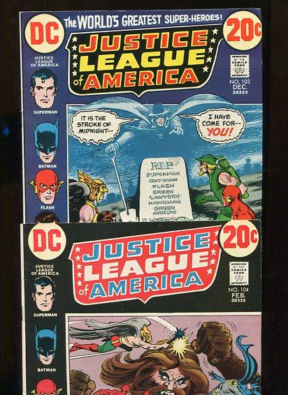 JUSTICE LEAGUE OF AMERICA (1972)  2 BOOKS #103,#104 9.0  VF-VF/NM WHITE PGS