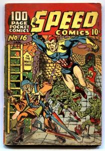 Speed Comics #16 Super rare pocket sized Gerber 8! HITLER cover by KIRBY!
