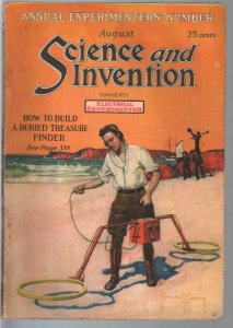 Science & Invention 8/1921-Frank R Paul art-pulp fiction-H V Brown-VG+