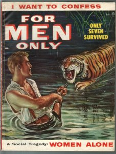 For Men Only 2/1955 Atlas-tiger attack cover-Carl Hubbell-Lisa Daniels-VG/FN