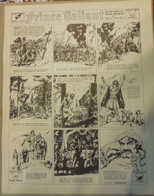 Prince Valiant by Hal Foster Syndicate Proof 1939  Size 16 x 20 inches