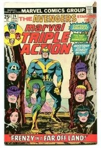 Marvel Triple Action 24 VF 8.0 Avengers Marvel 1975 Uncertified FREE SHIP