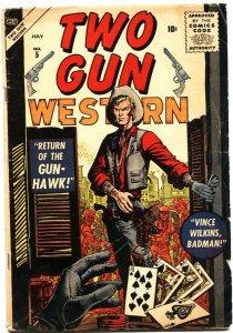 TWO GUN WESTERN #5-1956-BLACK RIDER-GUNHAWK-STAN LEE-JOE MANEELY-CARDS