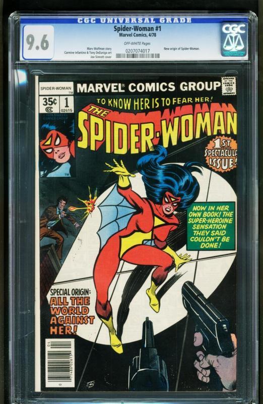 SPIDER-WOMAN #1-CGC 9.6 OW-NEW ORIGIN-BRONZE MARVEL KEY 0207074017