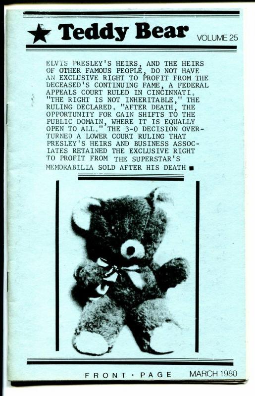 Teddy Bear 1980-Elvis Presley Fan Club Publication-pix-info-FN