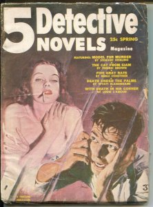 5 Detective Novels-Fall 1953-Thrilling-gun moll cover-Louis L'Amour-Fredric B...